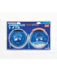 Narva 71640BE Ultima 175 Blue Broad Beam Driving Lamp Kit 12 Volt 100W 175mm dia Blister Pack
