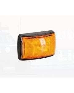 Narva 91422BL 10-33 Volt L.E.D Side Marker, External Cabin or Front End Outline Marker Lamp (Amber) with Black Deflector Base and 0.5m Cable (Blister Pack)