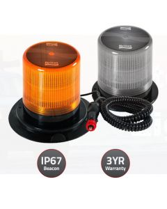 Britax LED Amber Beacon 10-30V 18Watt Lens Flexi Pole Mount, Silicone base, Clear lens