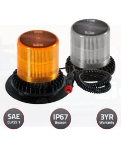 Britax LED Amber Beacon 10-30V 30Watt Flexi Pole Mount Silicone Base, Amber lens