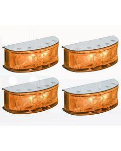 Hella HD LED Supplementary Side Direction Indicator or Cab Marker - Amber Illuminated, Polished S/S Housing (Pack of 4) (2027PBULK)