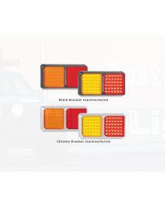 LED Autolamps 80CARM Double Series Stop/Tail/Indicator Combination Lamp - Chrome, Multivolt (Blister Single)