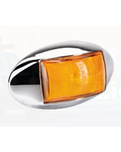 Narva 91424CBL 10-33 Volt L.E.D Side Marker, External Cabin or Front End Outline Marker Lamp (Amber) with Oval Chrome Deflector Base and 0.5m Cable (Blister Pack)