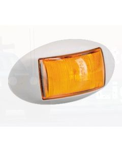 Narva 91424WBL 10-33 Volt L.E.D Side Marker, External Cabin or Front End Outline Marker Lamp (Amber) with Oval White Deflector Base and 0.5m Cable (Blister Pack)