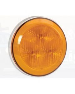 Narva 94300W-12 12 Volt L.E.D Rear Direction Indicator Lamp (Amber) with 0.3m Hard-Wired Non-Sheathed Cable and White Base