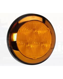 Narva 94305-12 12 Volt L.E.D Rear Direction Indicator Lamp (Amber) with Chrome Ring, 0.3m Hard-Wired Non-Sheathed Cable and Black Base