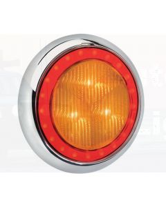 Narva 94340W 9-33 Volt L.E.D Rear Direction Indicator Lamp (Amber) with Red L.E.D Tail Ring, 0.5m Hard-Wired Sheathed Cable and 150mm Contoured White Base