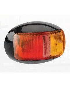 Narva 91605 9-33 Volt L.E.D Side Marker Lamp (Red / Amber) with Oval Black Deflector Base and 0.5m Cable