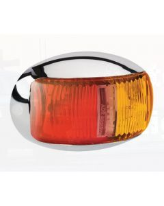 Narva 91605C 9-33 Volt L.E.D Side Marker Lamp (Red / Amber) with Oval Chrome Deflector Base and 0.5m Cable