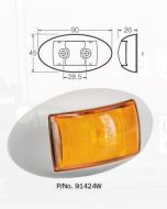 Narva 91424W 10-33 Volt L.E.D Side Marker, External Cabin or Front End Outline Marker Lamp (Amber) with Oval White Deflector Base and 0.5m Cable