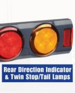 Narva 94362 9-33 Volt L.E.D Rear Direction Indicator and Twin Stop / Tail Lamps, 0.5m of Hard-Wired Cable and Grey Housing with In-built Retro Reflectors