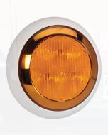 Narva 94335WBL 9-33 Volt L.E.D Rear Direction Indicator Lamp (Amber) with Chrome Ring, 0.5m Hard-Wired Sheathed Cable and Contoured 150mm White Base - Blister Pack